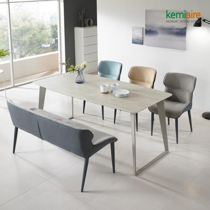 케미에르 그란데 천연세라믹 6인식탁SET(벤치 의자) KGN-905B, 의자형[그레이]