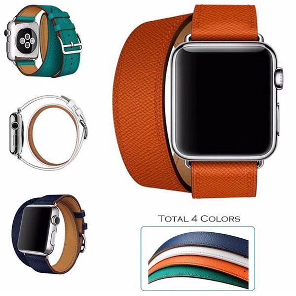 유니커블 애플워치 시리즈 4 3 2 캐주얼 스포츠 더블투어 가죽밴드 패션 시계줄 44 42 40 38, UAW1030 44MM 블랙, 1개