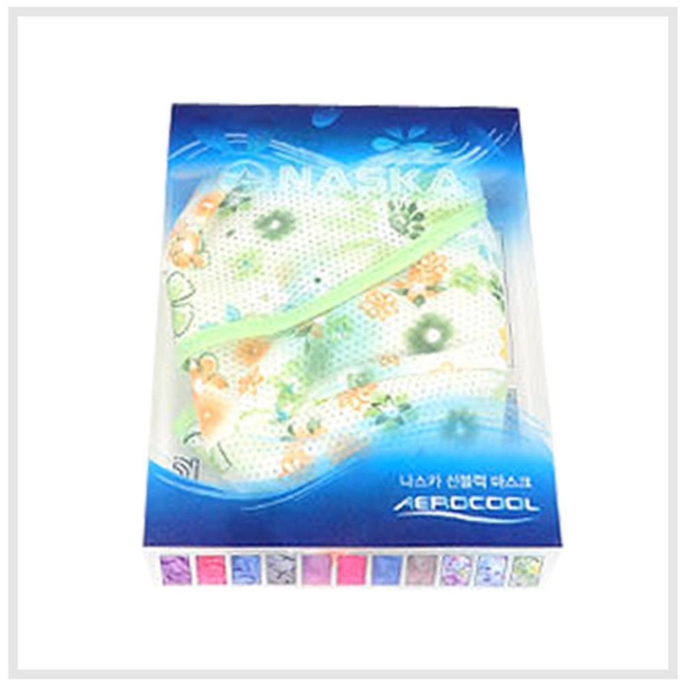 마스크 꽃무늬 썬블럭 2개 햇빛 먼지 자외선마스크 면, NASKA썬블럭마스크(꽃무늬)/그린[GG011-0061]