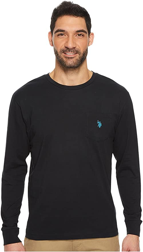[미국]남성 티셔츠 폴로 롱 슬리브 크루 넥 포켓 T 셔츠 블랙