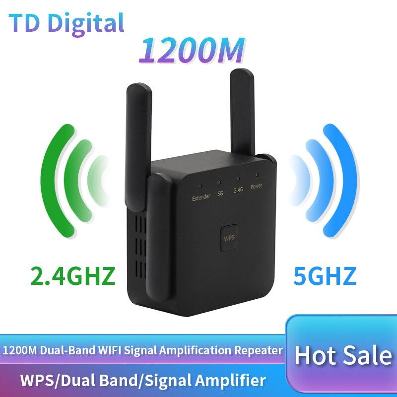 1200Mbps 와이파이 리피터 듀얼 밴드 무선 와이파이 범위 익스텐더 와이파이 긴 신호 증폭기 2.4G 및 5G 리피터 와이파이 Wireless Routers , 1개, CHINA, Black