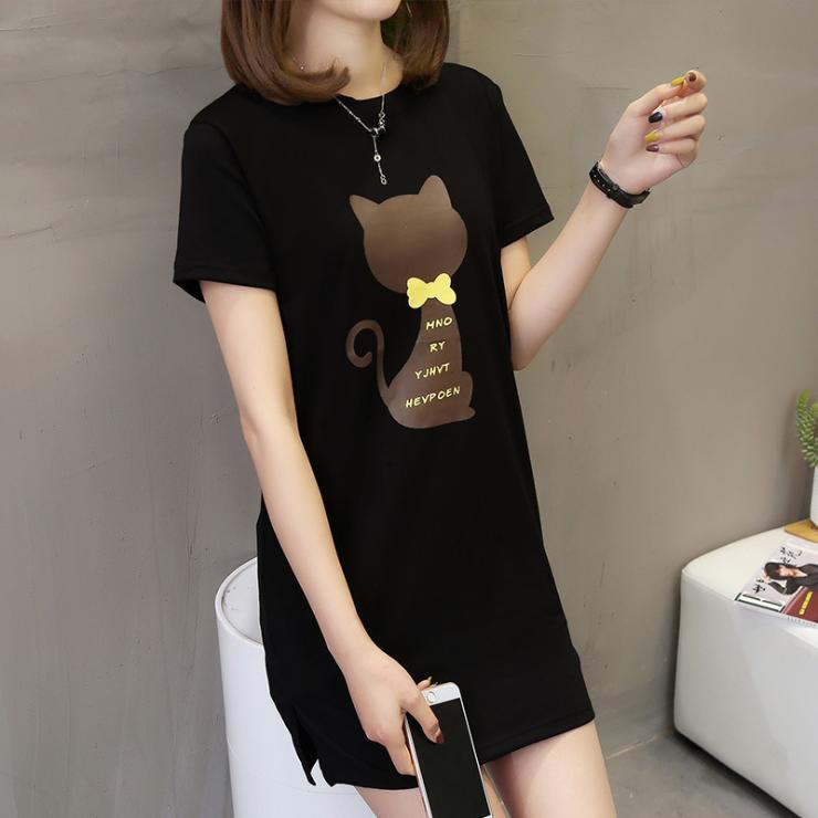 베씨 여성용 박스 고양이리본 반팔 롱티셔츠