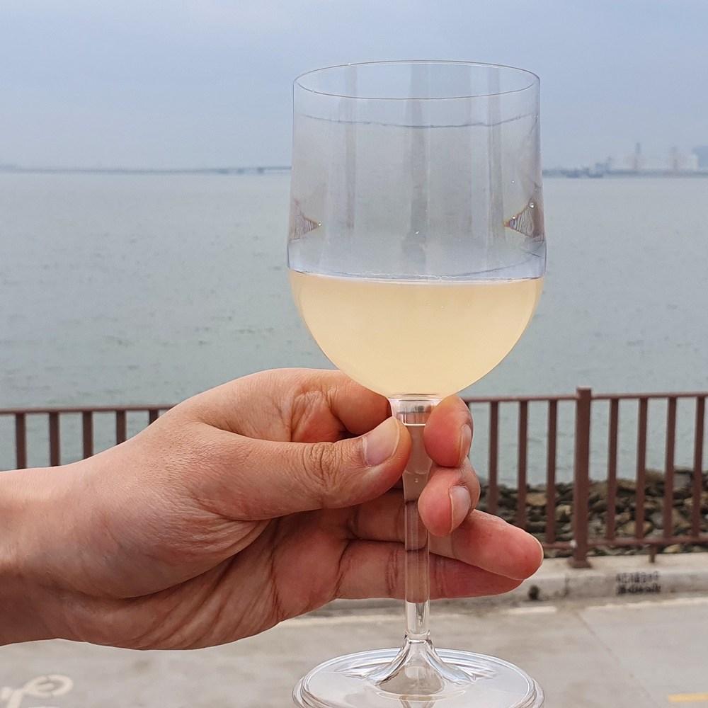 보소 아웃도어 휴대용 안깨지는 와인잔 1개 + 캐리어1개 투명 캠핑 폴리카보네이트