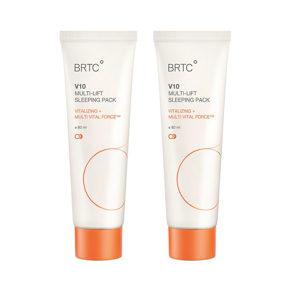 BRTC V10 멀티 리프트 슬리핑 팩 80ml 비타민 수분 폭탄 수면팩 대용량 크림, 2개