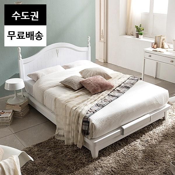 굿 평상형 2인 부부 틀 침대프레임(퀸사이즈화이트), 화이트_Q퀸침대