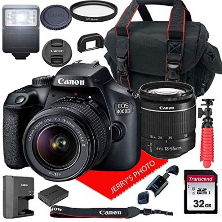 Canon EOS 4000D Rebel T100 DSLR Camera wCanon EF-S 18-55mm F3.5-5.6 III Zoom Lens + Case + 32GB SD, 상세 설명 참조0