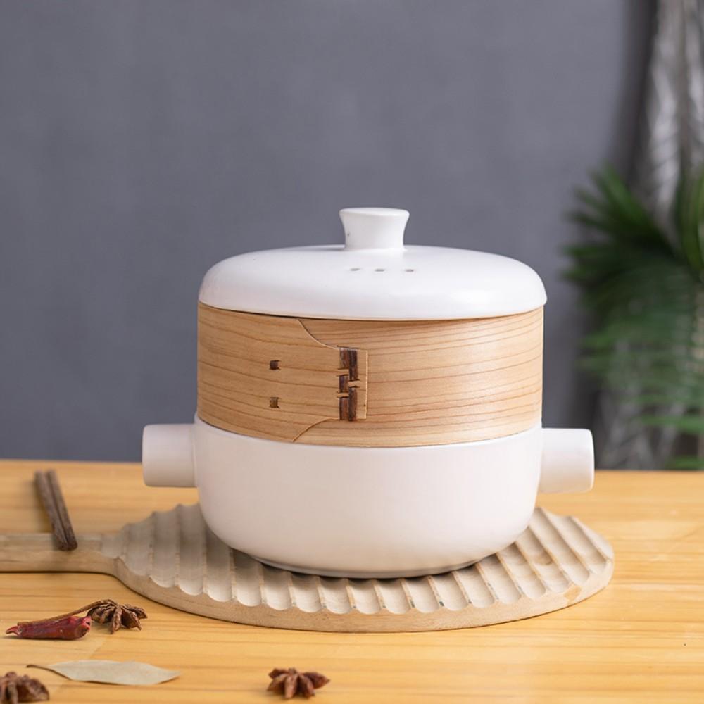 편백나무 찜기 찜냄비 찜통 떡시루 이유식 만두 호빵 떡 수육 냄비, 1.5L 흰색 찜기와 대나무 찜통