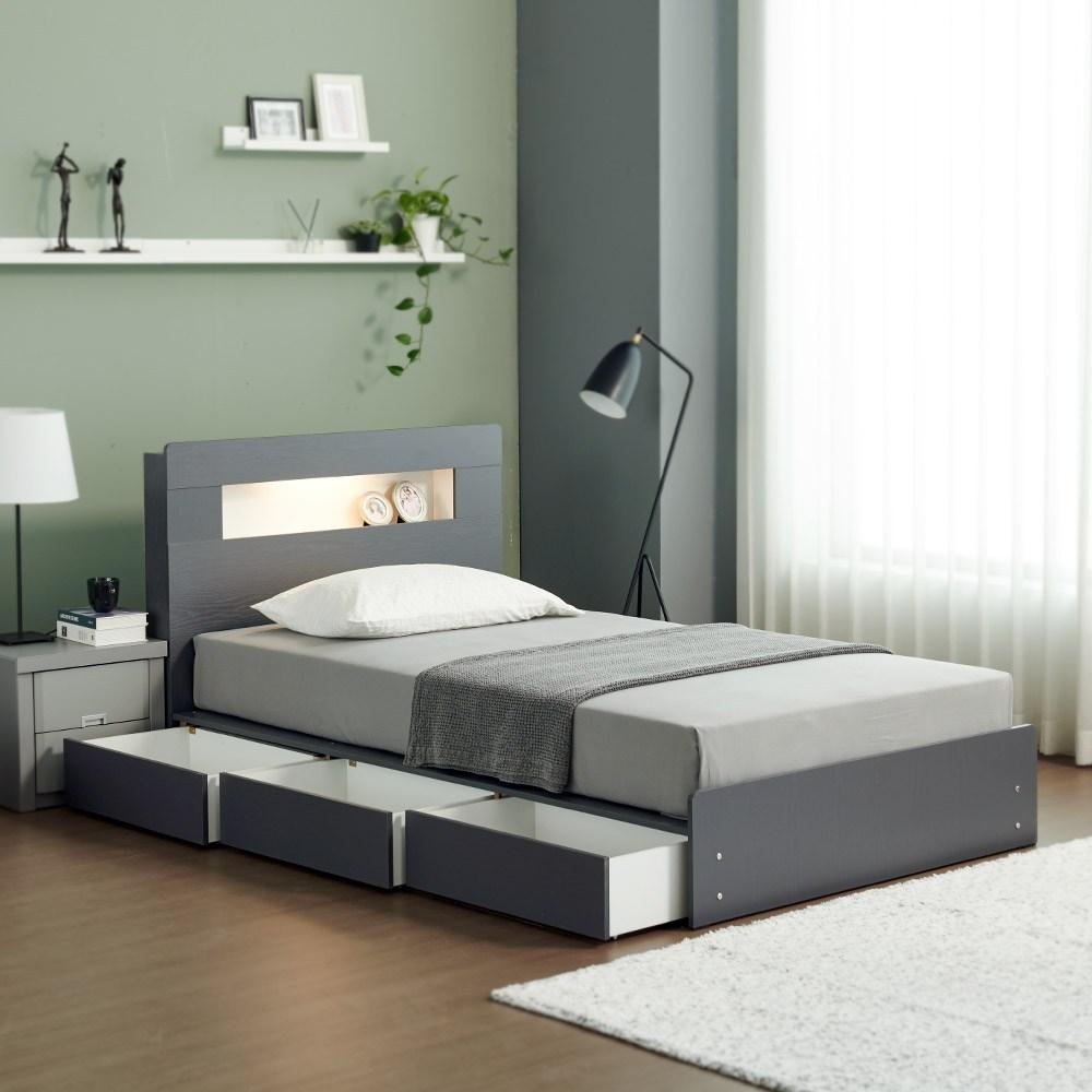 젠티스 테리우스 LED 침대(매트리스 포함)통판형 서랍형 수납형 슈퍼싱글침대 퀸침대, B. 테리우스 3단 서랍형(그레이)