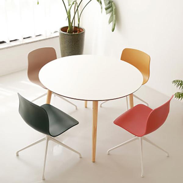 체나레 HPM 멜라민 원형 화이트 카페 식탁 1000 테이블, 내추럴