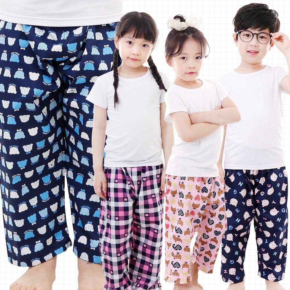 키즈라인 아동파자마 유아 주니어 면파자마 9부 잠옷바지 국내생산 실켓가공 아동잠옷