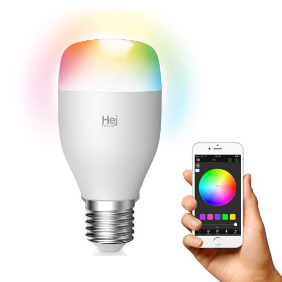 헤이홈 스마트전구 Led 컬러 밝기 조절 IoT AI 스피커 음성제어 무드등 취침등, 1개, 2색_(밝기조절)