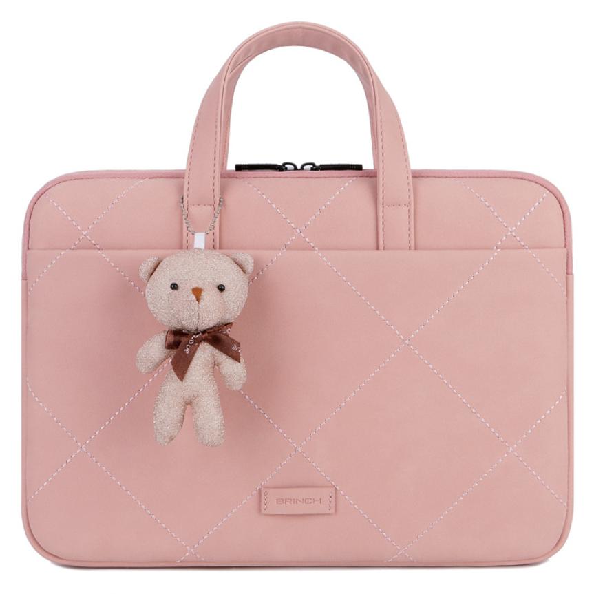 BRINCH 14 15 16 17인치 노트북 파우치 케이스 맥북 삼성 LG 그램 노브툭 가방, 핑크
