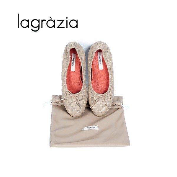 [라그라치아(슈즈)] 라그라치아 그라치아(Grazia) 양가죽 퀼팅 플랫 + 파우치