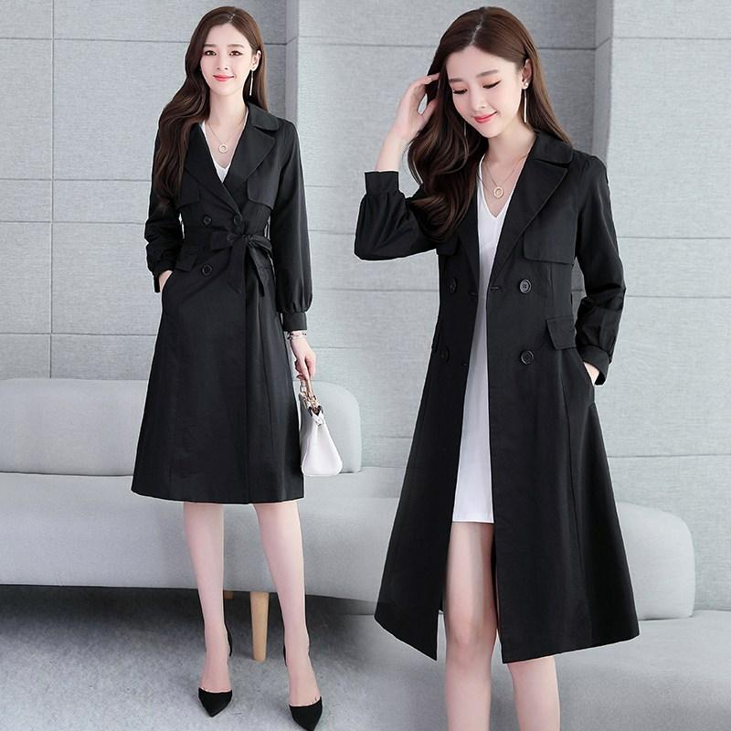 봄옷 긴 소매 더블 단추 슬림핏 끈 하프트렌치코트 여성 어텀 무드 이니셜 자수 코트