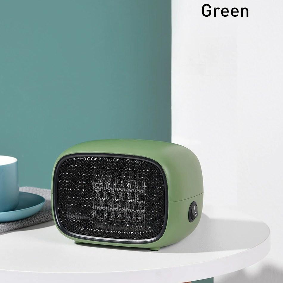 미니 전기 히터 온풍기 500W 가정용 사무실 캠핑 스토브, 그린