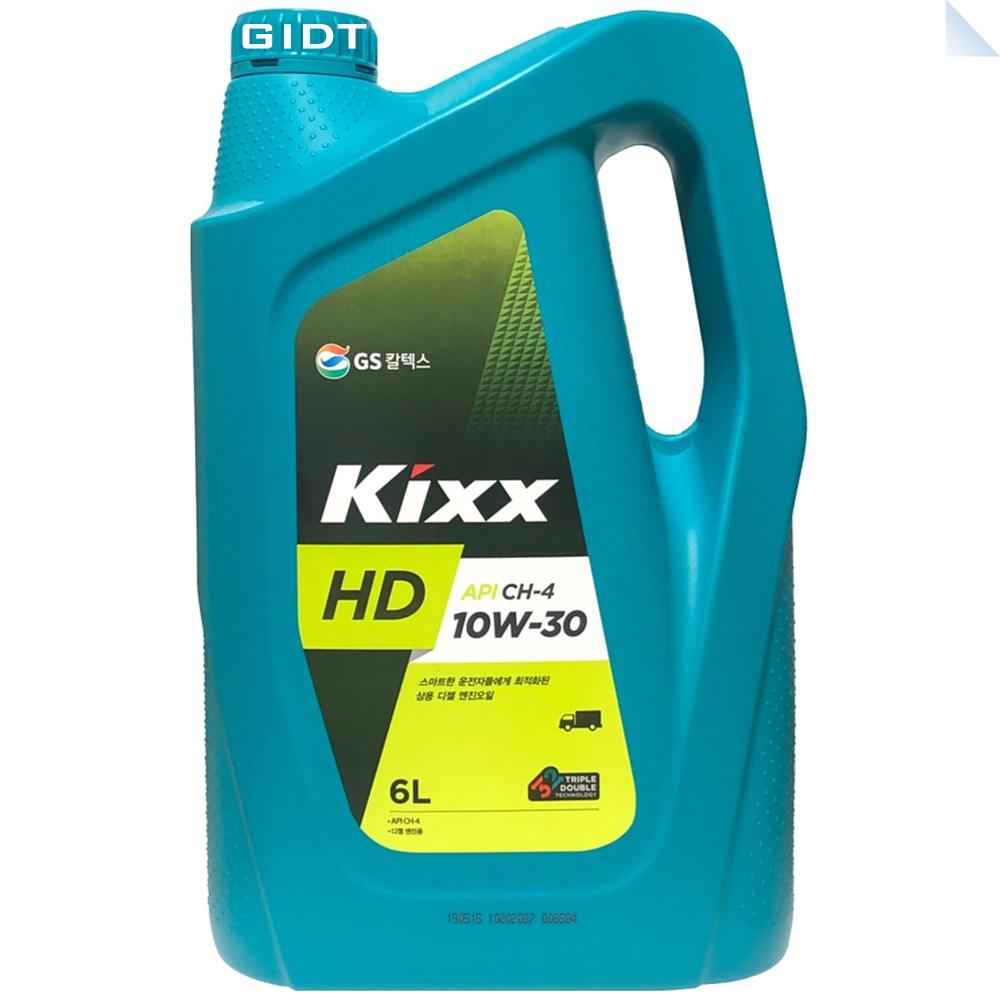 GS칼텍스 킥스 Kixx HD 10W30 6L 디젤 엔진오일, 1통, Kixx HD 10W-30 6L