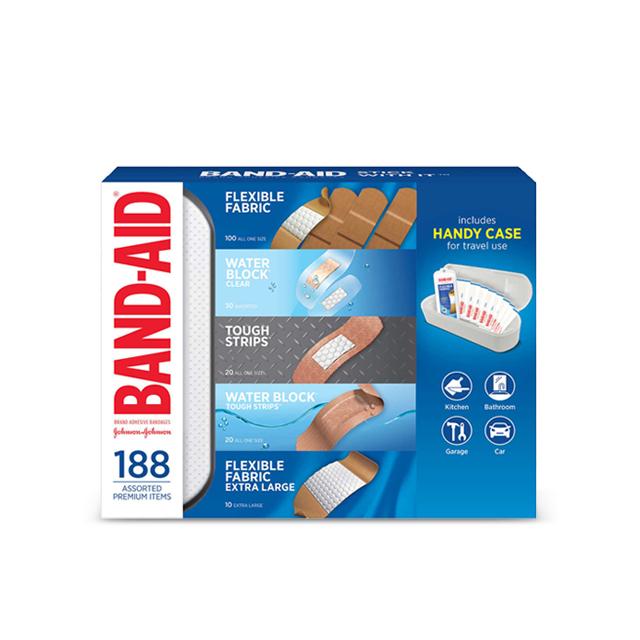 밴드에이드 종합밴드 방수 일회용밴드 대용량 188개입+핸디케이스, 188개 (POP 1519633958)