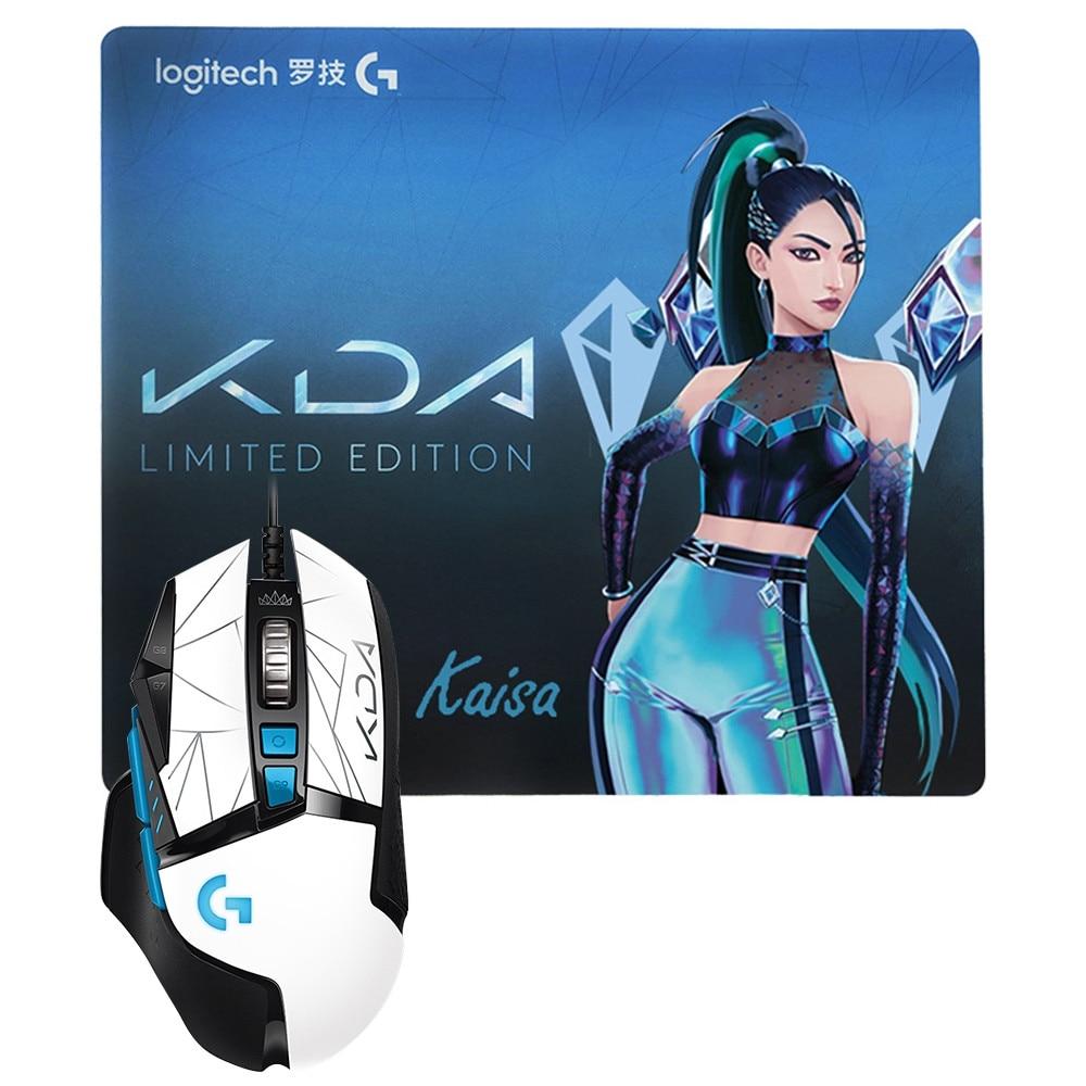 로지텍 G502 영웅 게임용 마우스 대형 KDA 패드 25600 인치 당 점 조정 가능한 RGB 12 키 광학 USB 유선 (노트북 PC 용), KAISA set 스페인