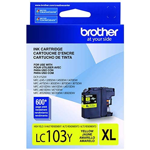 Brother LC-103Y DCP-J132 J152 J171 J4110 J552 J752 MFC-J245 J285 J4310 J4410 J450 J4510 J870 J875 Ink Cartridge Yellow in Retail Packaging, 본문참고, 옵션 5 Color = Yellow