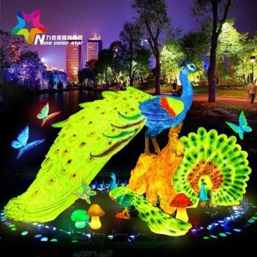 레진 수지 공예 정원 가든 마당 야외 장식 조경 인테리어 조각상 조형물 오픈스크린 발광 공작새 야외공원 동물 등 정원수 소품, 09 대형 켜기 LED 7컬러 램프