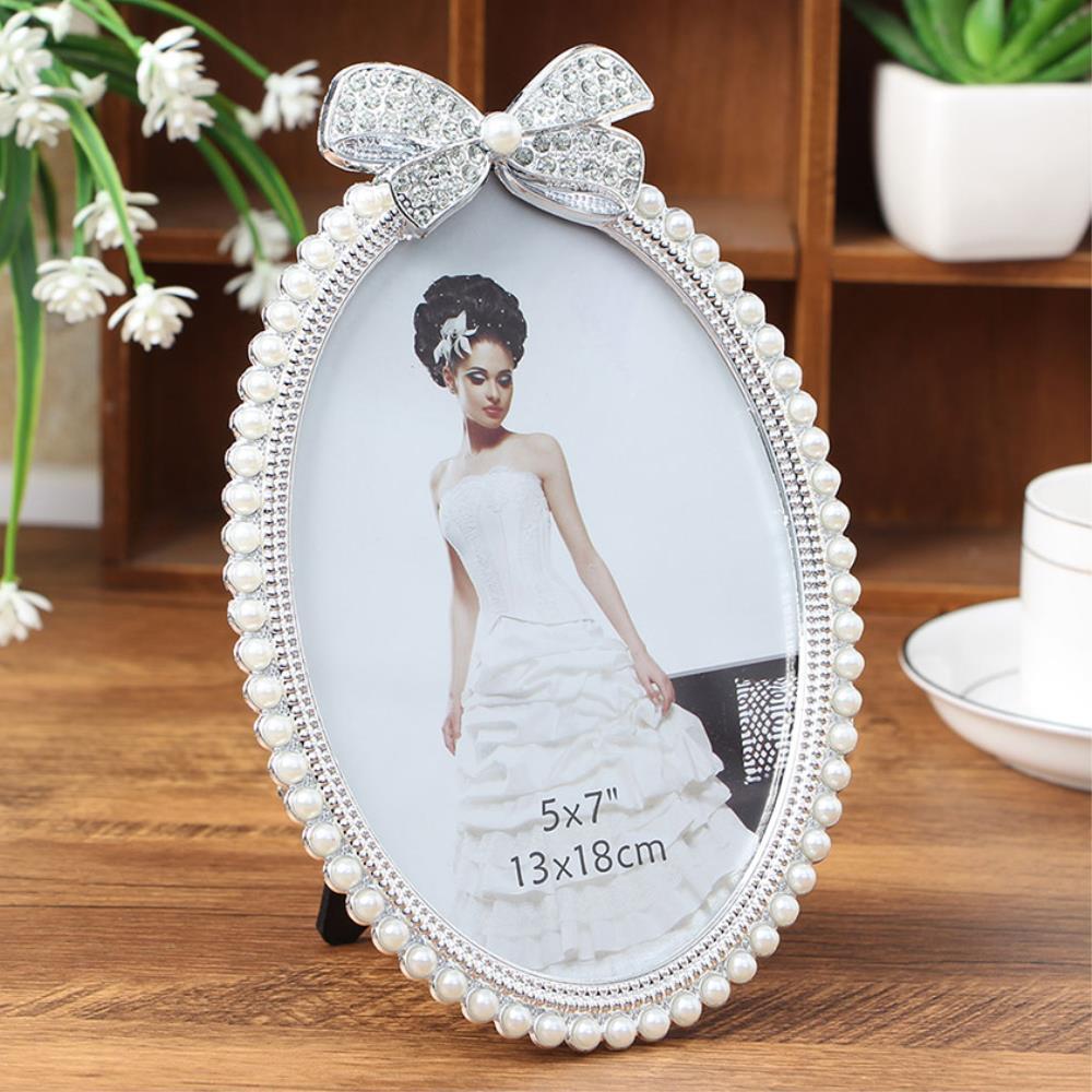 리본 진주 결혼사진 탁상용 액자 2개 가족사진액자, 단일상품