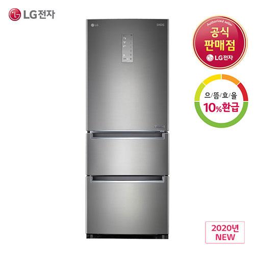LG전자 디오스 LG K334S11E 스탠드 김치냉장고 퓨어메탈 327L 1등급 스탠드형