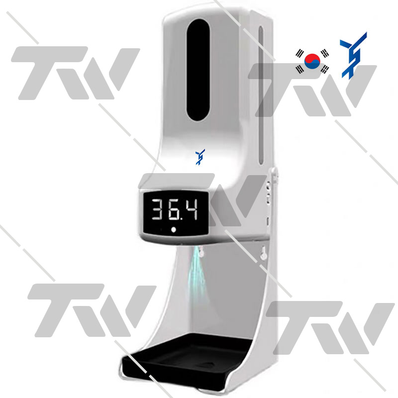 TW K9-PRO한국어지원 음성안내 액체소독액 젤불가 자동비접촉 체온측정 손소독기 삼각대 한글설명서, K9 Pro+받침대