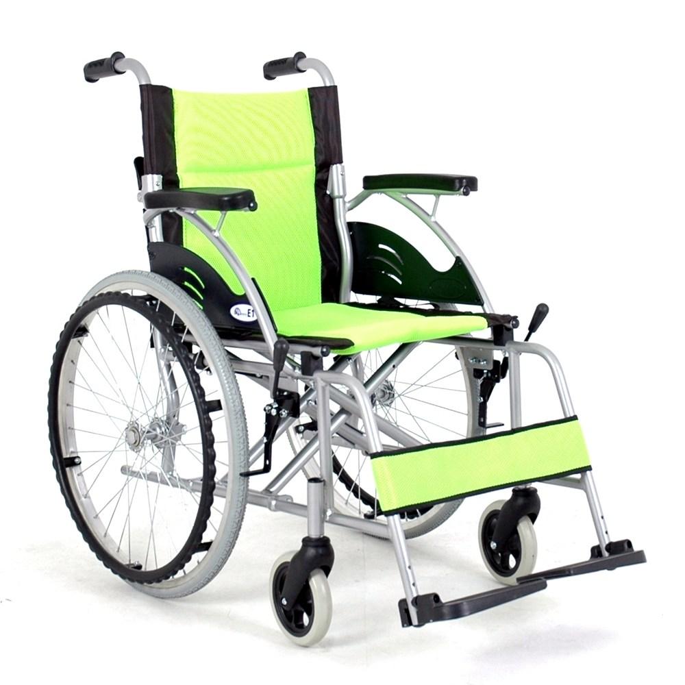 경량형 수동 알루미늄 E1 E2 휠체어, 1개, E1(연두색)