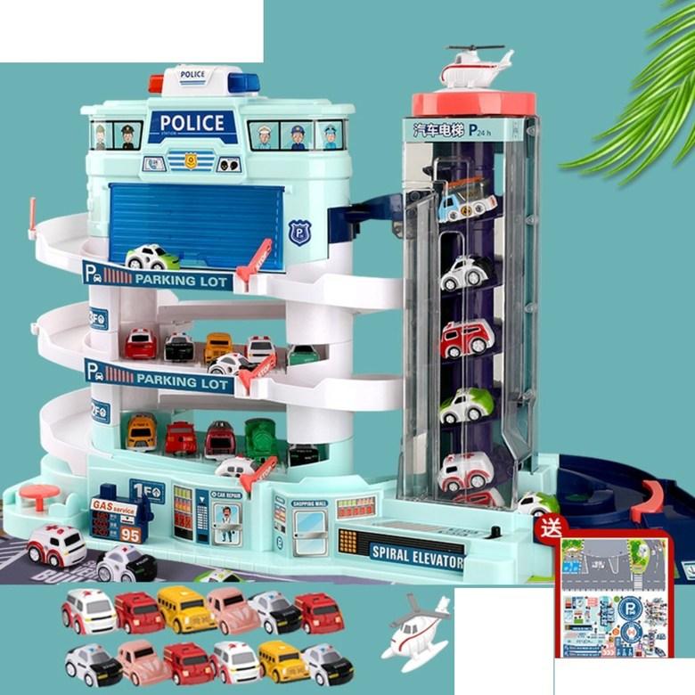 5층 대형 장난감 주차 타워 자동 엘리베이터 전동 컨트롤 작동 선물 서프라이즈 휴대폰 끊는법, 오버사이즈 경찰주차장+LED+차12+비행기1