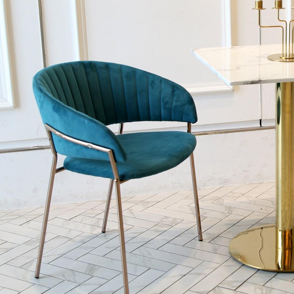 지엠퍼니처 엘리 벨벳 골드체어 인테리어의자, 엘리체어 그린+완제품