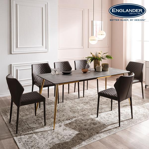 잉글랜더 티볼리 통세라믹 6인용 식탁 세트 의자6, 마블화이트(베이지)