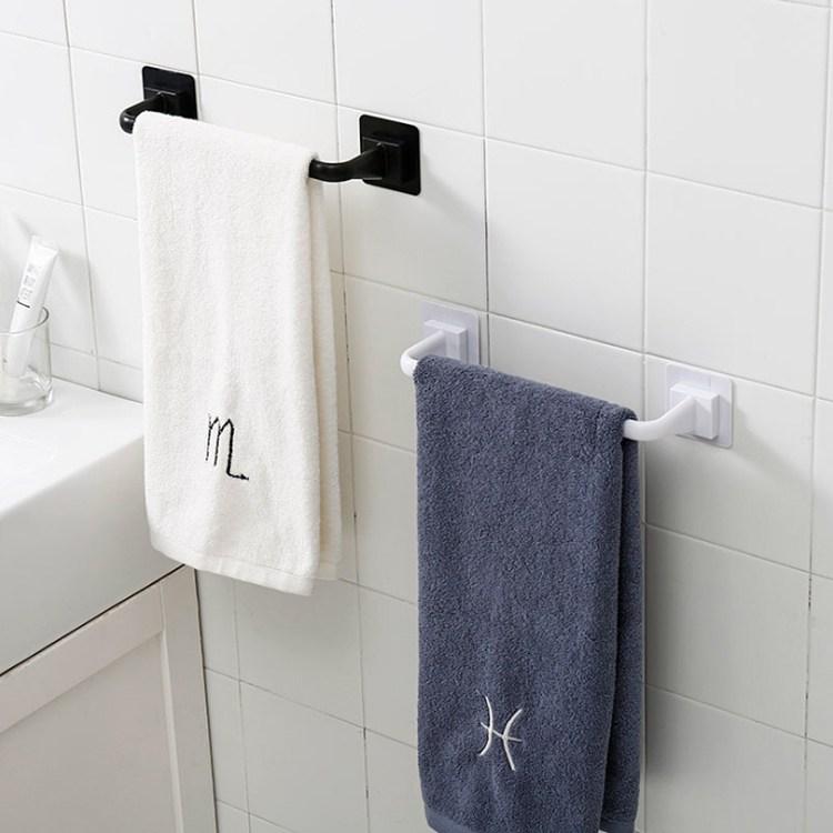 흡착식 부착식 북유럽 욕실 수건걸이 타올걸이 소형 대형, 블랙소형