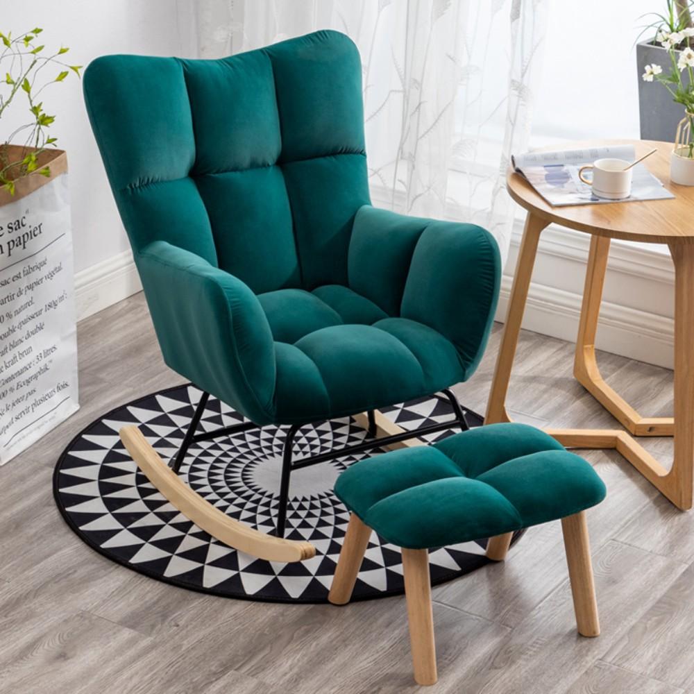 윙체어 1인용 흔들의자 수유 안락 의자 독서 인테리어 원목, 그린+발받침