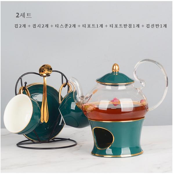리앤킴 북유럽 스타일 도자기 찻잔 티팟 세트 lnk528, 2세트, 그린