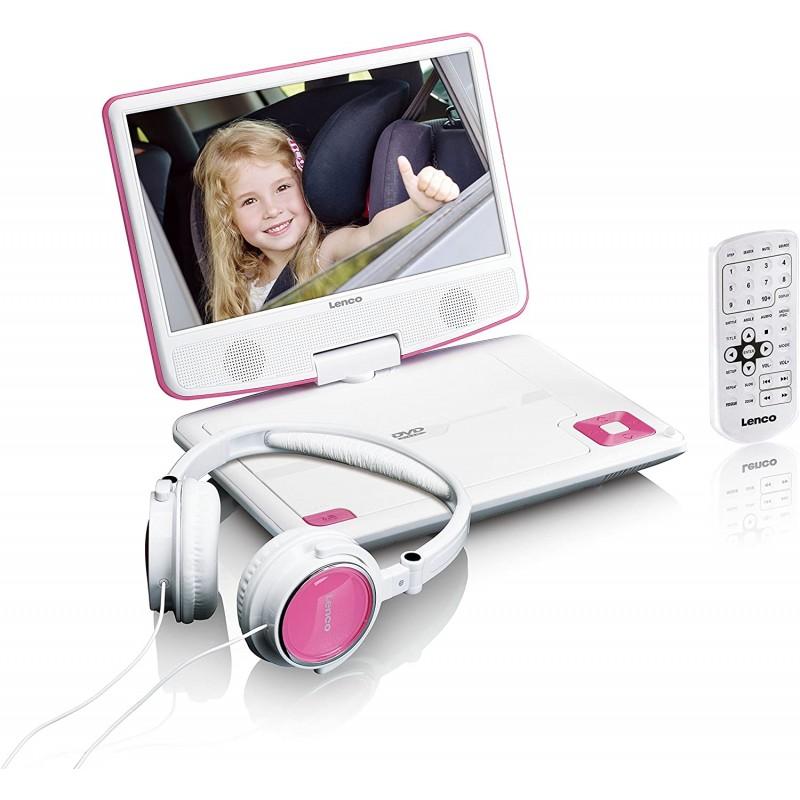 회전식 디스플레이와 통합 배터리(USB AV 출력) AC 어댑터 헤드 워치 핑크가 있는 Lenco 휴대용 DVD 플레이어 DVP-910 9인, 단일옵션