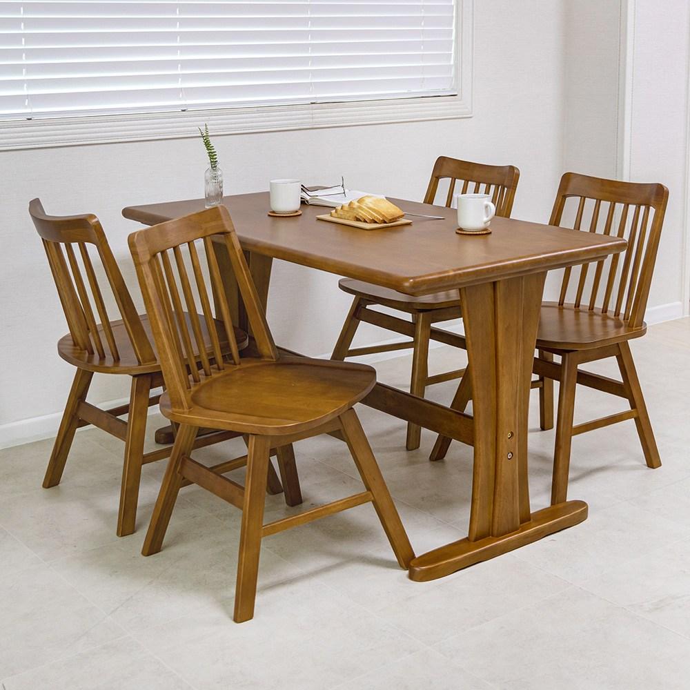 라로퍼니처 킹 4인용 원목 식탁 세트 의자형(식탁+의자4) 식탁세트, 단품