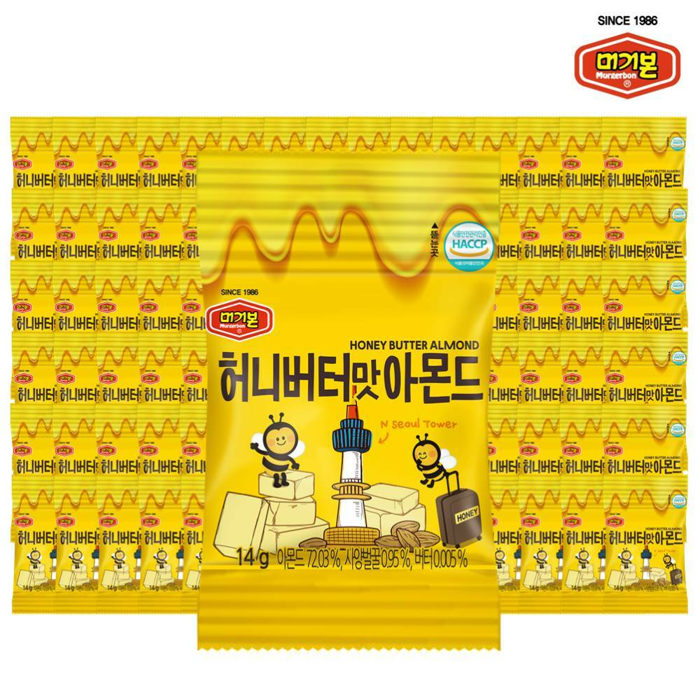[신세계TV쇼핑][머거본] 먹기좋은 소용량 허니버터아몬드 14g 50봉 (총700g), 단일상품, 단일상품