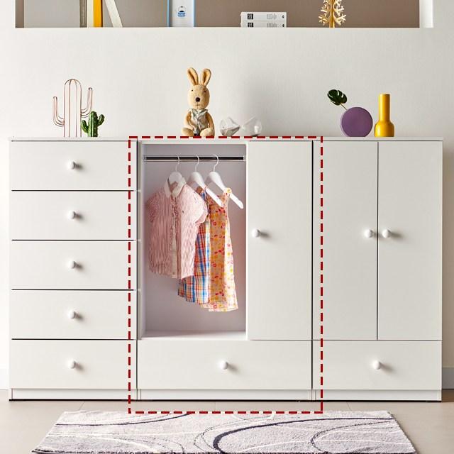 [에띠안] 비비아나 베이비 유아 키즈 옷장 수납 서랍장 시리즈 도어형 5colors 베이비장, 800수납장 화이트