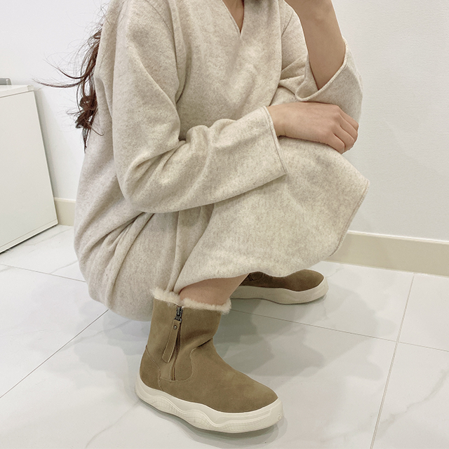 여성 가죽부츠 방한부츠 겨울부츠 털부츠 방한화 3cm