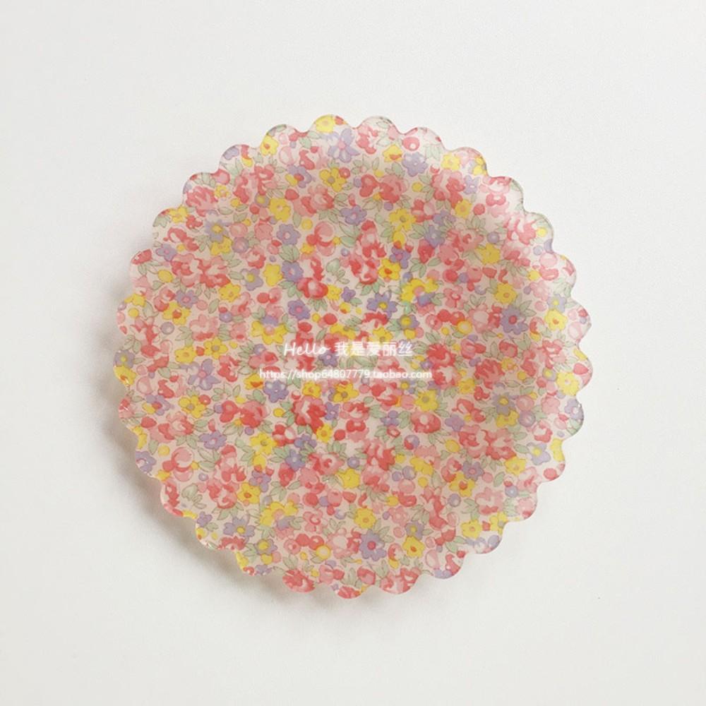 레트로 체크 플라워 플레이트 복고풍 빈티지 꽃무늬 안깨지는 그릇, B