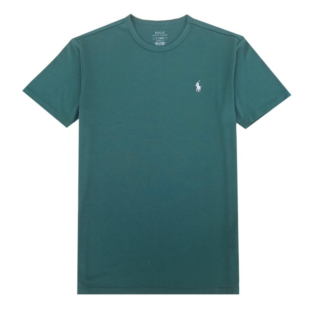 해외직구 클래식 핏 남성 폴로 라운드 넥 티셔츠 비즈니스 캐주얼 그린 반팔티