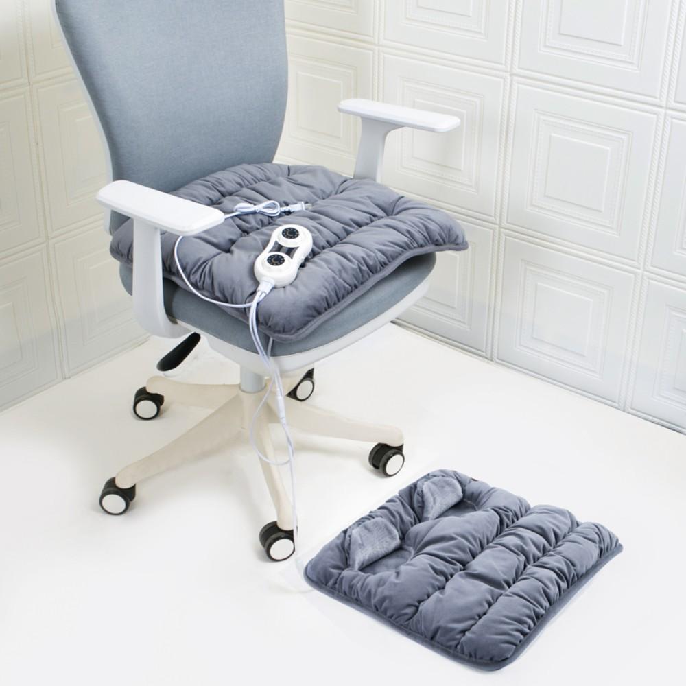사무실 전기장판 가정용 훈훈방석 의자용 엉뜨방석 발온열기 풋워머 발 보온 의자등받이, 좌석 쿠션 48X48+따뜻한 발 40X40, 그레이 (크리스탈 벨벳)
