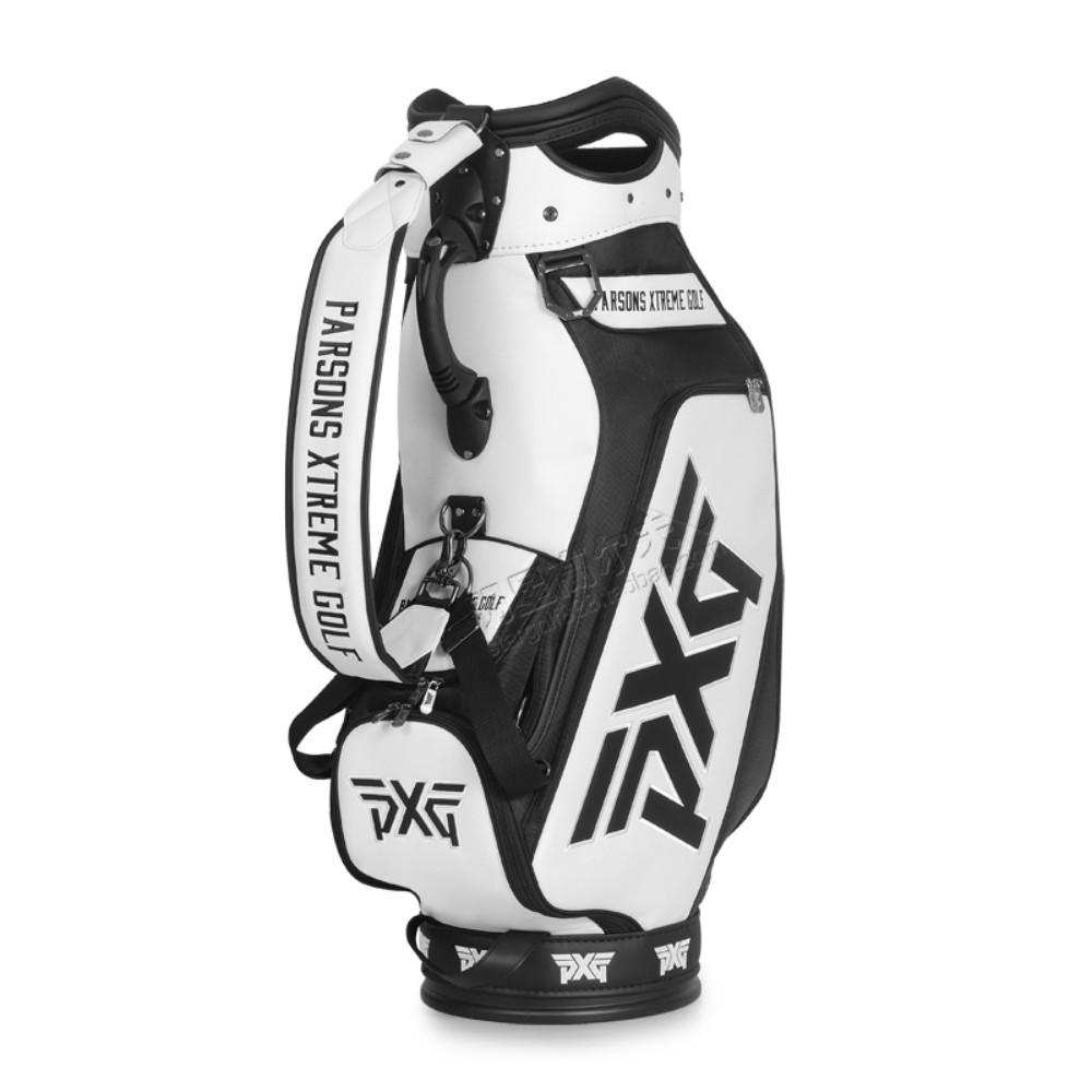 PXG 체크무늬 남여공용 경량 스탠드백 캐디백 카트백 골프백, 검정색과 흰색