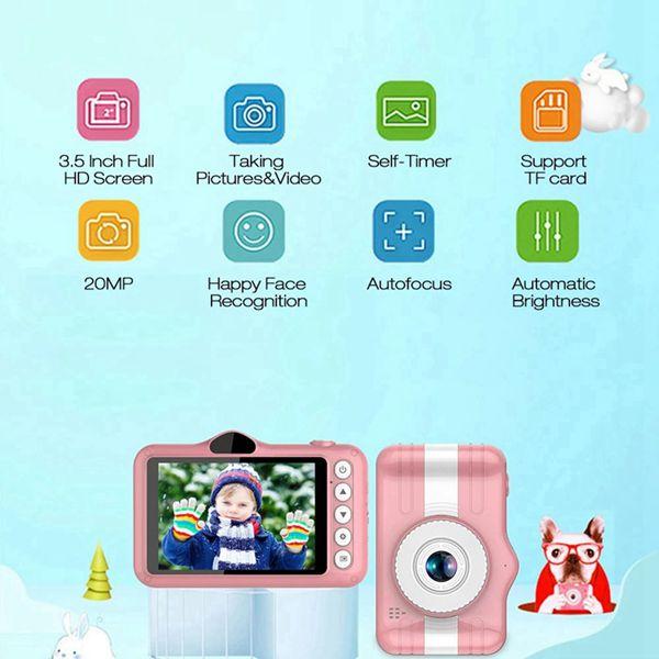 X600 3.5 인치 키즈 디지털 카메라 풀 HD 1080P 미니 어린이 카메라 만화 아이 토이 카메라 (핑크), 하나, 분홍