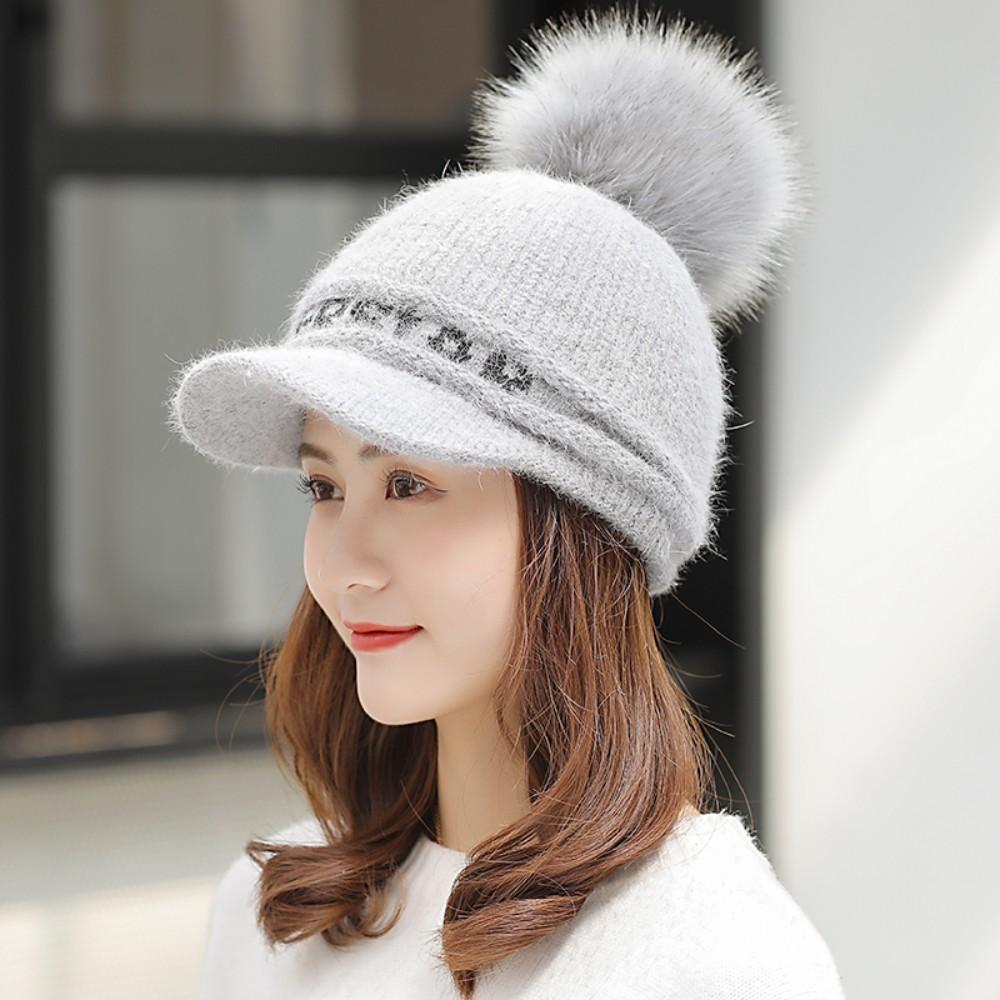 니트 방울 캡 겨울용골프모자 여성 골프 털모자 용품 귀덮는 방한용, Grey