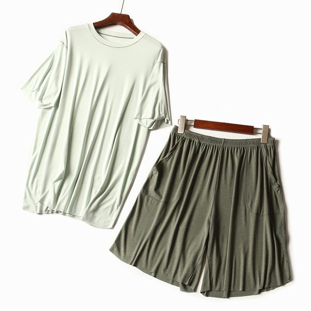 위파인더 남성 캐주얼 세트 헴라인 홈웨어 상의 반바지 패션 부클 라운드