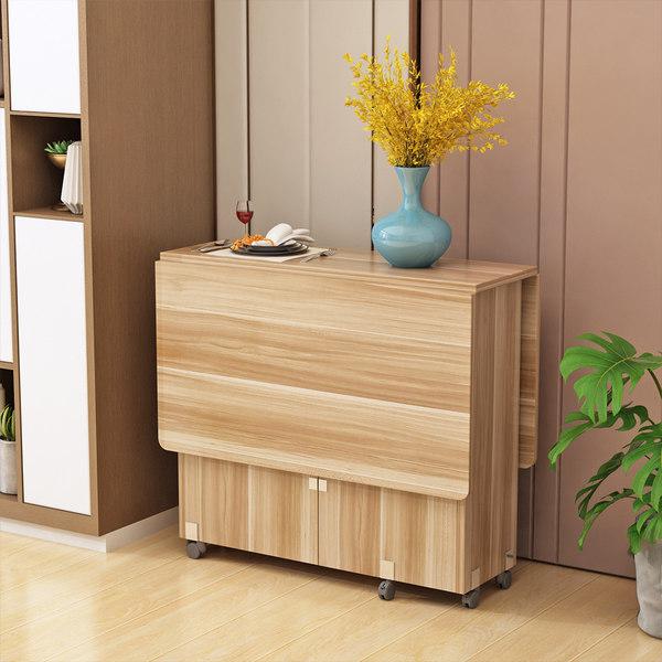 가정용 다기능 접이식 이동식 식탁 테이블, 1.2 얕은 호두 작은 필렛 이동 가능