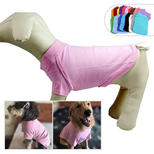 2018 애완 동물 의류 중형 중형견을위한 개 옷 비어있는 티셔츠 티셔츠 100 % 코튼 개 티즈 클래식 (XXXXL 핑크) 2018 Pet Clothing Dog Clothes, 1set
