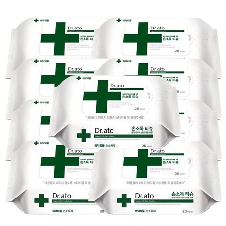 닥터아토 손소독 티슈 휴대용 20매 의약외품(손소독제), 6팩