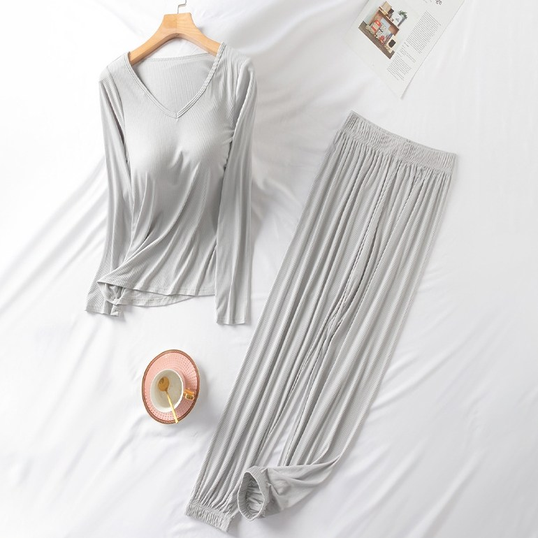 마마조이 모달 골지 브라캡 긴팔 잠옷 파자마세트